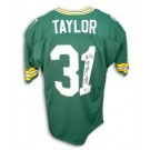 "Jim Taylor Green Bay Packers Autographed Throwback NFL Football Jersey Inscribed ""HOF 76"" (Green)"