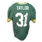 "Jim Taylor Green Bay Packers Autographed Throwback NFL Football Jersey Inscribed ""MVP 62"" (Green)"
