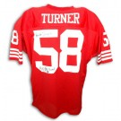 "Keena Turner San Francisco 49ers Autographed Custom Throwback NFL Football Jersey Inscribed with ""4X SB Champs"" (Red)"