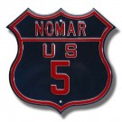 "Steel Route Sign:  ""NOMAR US 5"""