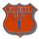 "Steel Route Sign:  ""NY METS US 1"""