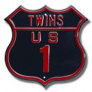 "Steel Route Sign:  ""TWINS US 1"""