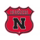 "Steel Route Sign:  ""HUSKERS US 1"""