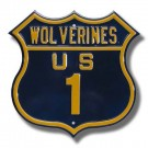 Steel Route Sign:  WOVERINES US 1""