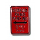 "Steel Parking Sign: ""GEORGIA FANS PARKING:  BEWARE OF THE DAWGS"""