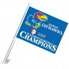 Kansas Jayhawks 2008 Men's Basketball National Champions Car Flags - 1 Pair