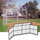 Chain Link Winged Backstop with 2 -10' H x 10'W Panels and 1-10'H x 20'W Center Panel and Center Overhang