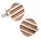 Fall / Mocha Stripe Cuff Links - 1 Pair
