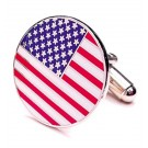 Round American Flag Cuff Links - 1 Pair