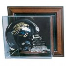 Wall Mountable Full Size Football Helmet Display Case with Engraved NFL Team Logo (Mahogany)