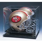 Football Helmet Display Case with Mirrored Back, Gold Risers and Engraved NFL Team Logo
