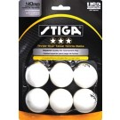 Stiga Three-Star White Table Tennis Balls (Set of 6 balls)