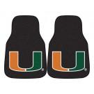 """Miami Hurricanes 17"""" x 27"""" Carpet Auto Floor Mat (Set of 2 Car Mats) (Black)"""