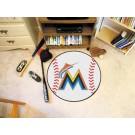 """29"""" Round Miami Marlins Baseball Mat"""