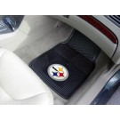 "Pittsburgh Steelers 17"" x 27"" Heavy Duty 2-Piece Vinyl Car Mat Set"