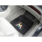 "Miami Marlins 18"" x 27"" Heavy Duty 2-Piece Vinyl Car Mat Set"