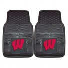 "Wisconsin Badgers 17"" x 27"" Heavy Duty 2-Piece Vinyl Car Mat Set"