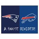 "New England Patriots - Buffalo Bills House Divided Rugs 34"" x 45"""