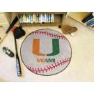 """Miami Hurricanes 27"""" Round Baseball Mat"""