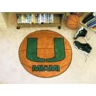 "27"" Round Miami Hurricanes Basketball Mat"