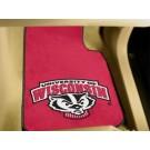 "Wisconsin Badgers 17"" x 27"" Carpet Auto Floor Mat (Set of 2 Car Mats)"