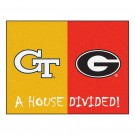 "Georgia Tech Yellow Jackets and Georgia Bulldogs 34"" x 45"" House Divided Mat"