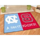 "North Carolina Tar Heels and North Carolina State Wolfpack 34"" x 45"" House Divided Mat"
