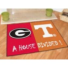 "Georgia Bulldogs and Tennessee Volunteers 34"" x 45"" House Divided Mat"