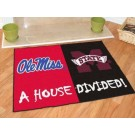 "Mississippi (Ole Miss) Rebels and Mississippi State Bulldogs 34"" x 44.5"" House Divided Mat"
