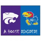 "Kansas Jayhawks and Kansas State Wildcats 34"" x 45"" House Divided Mat"