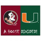 "Florida State Seminoles and Miami Hurricanes 34"" x 45"" House Divided Mat"