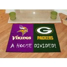 "Minnesota Vikings and Green Bay Packers 34"" x 45"" House Divided Mat"