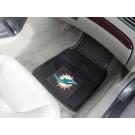 """Miami Dolphins 17"""" x 27"""" Heavy Duty 2-Piece Vinyl Car Mat Set"""