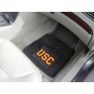 "USC Trojans 17"" x 27"" Heavy Duty 2-Piece Vinyl Car Mat Set"