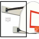 """Three-Point Wall Mount Basketball System with 35"""" x 54"""" Steel Fan-Shaped Backboard and 2-3' Foot Extension"""