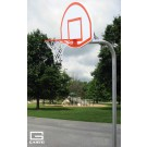 "4 1/2"" O.D. Unbraced Front Mount Gooseneck Basketball Backboard Post with 4' Extension"