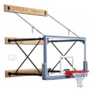 """Fold-Up Wall Mount Basketball System with 42"""" x 72"""" Glass Backboard and 9-12'... by"""
