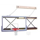 """Side-Fold Wall Mount Basketball System with 42"""" x 72"""" Glass Backboard and 9-12'... by"""
