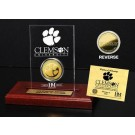 Clemson Tigers 24KT Gold Coin in an Etched Acrylic Desktop Display from The Highland Mint