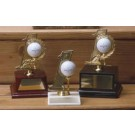 Hole-In-One Golf Trophy with Wood Base