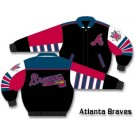 Atlanta Braves Black Classic Plonge Leather With Colored Team Logo Jacket From J. H. Design (Small)