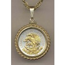 "Mexican 10 Centavo ""Eagle"" Two Tone Gold Filled Rope Bezel Coin on 18"" Necklace"