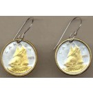 "Canadian 10 Cent  ""Bluenose Sail Boat"" Two Tone Coin Earrings"