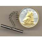 "Canadian 10 Cent ""Bluenose Sail Boat"" Two Tone Gold on Silver World Coin Tie Tack"