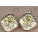 "Bahamas 15 Cent ""Hibiscus"" Two Tone Coin Earrings"