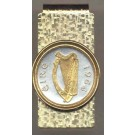 "Irish Penny ""Harp"" Two Tone Gold on Silver World Coin Hinged Money Clip"