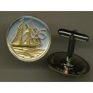 "Cayman Islands 25 Cent ""Sail Boat"" Two Tone Coin Cuff Links - 1 Pair"