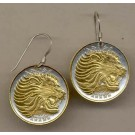 """Ethiopia 25 Cent """"Lion Head"""" Two Tone Coin Earrings"""