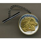 "Ethiopia 25 Cent ""Lion"" Two Tone Gold on Silver World Coin Tie Tack"