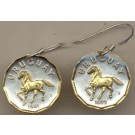"Uruguay 10 Centesimal ""Horse"" Two Tone Coin Earrings"